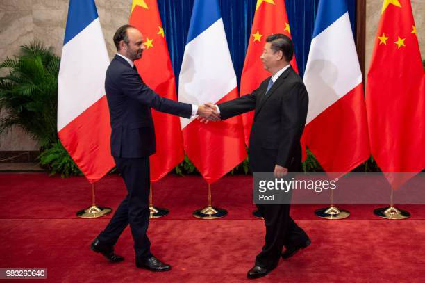 China's President Xi Jinping meets French Prime Minister Edouard Philippe at the Great Hall of the People in Beijing on June 25, 2018.