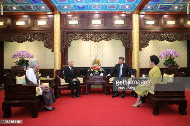 China's President Xi Jinping meets with Cambodia's King Norodom Sihamoni at Diaoyutai State Guesthouse on September 19 2018 in Beijing China