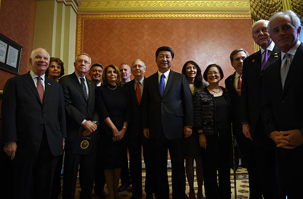 China's President Xi Jinping meets with leaders Congress Sen. Ben Cardin, , Sen. Dianne Feinstein , Senate Minority Leader Harry Reid , House...