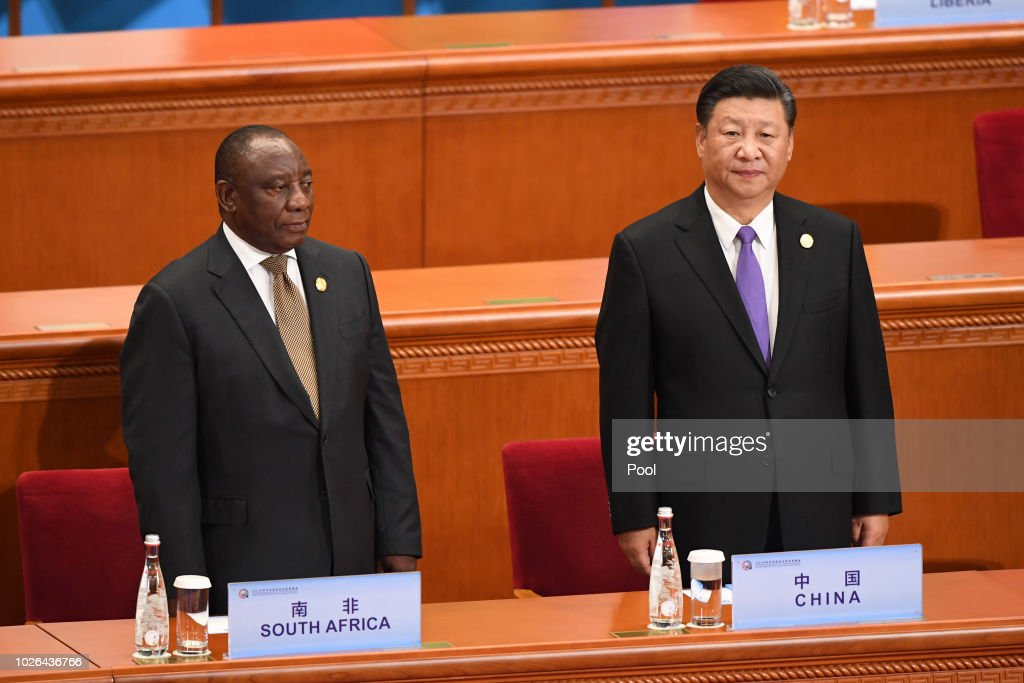 China's President Xi Jinping, right, and South Africa's President Cyril Ramaphosa await other participants to arrive before the start of the opening ceremony of the Forum on China-Africa Cooperation at the Great Hall of the People on September 3, 2018 in Beijing, China.