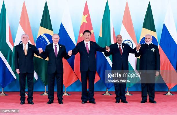 Chinas president Xi Jinping Russian President Vladimir Putin South African president Jacob Zuma President of Brazil Michel Temer and Prime Minister...
