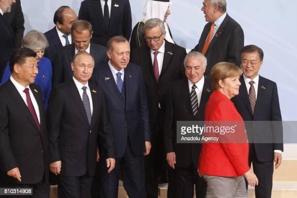 China's President Xi Jinping Russian President Vladimir Putin Turkish President Recep Tayyip Erdogan and German Chancellor Angela Merkel arrive with...