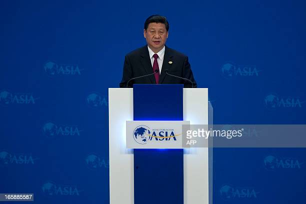 China's President Xi Jinping speaks at the opening ceremony of the annual the Boao Forum for Asia in Boao in southern China's Hainan province on...