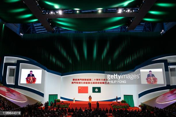 China's President Xi Jinping speaks during the inauguration ceremony of Macau's new Chief Executive Ho Iatseng as part of 20th anniversary handover...
