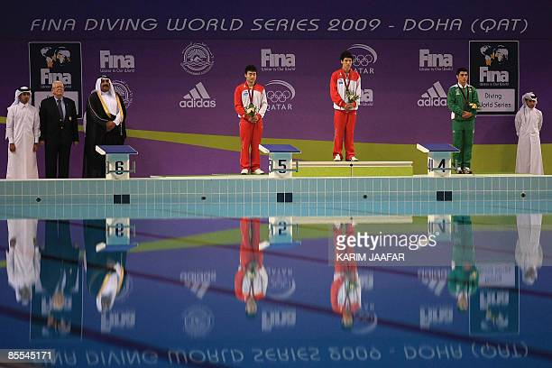 China's Qin Kai Zhang Xinhua and Mexico's Yahel Castillo stand on the podium after receiving their medals following the men's 3m springboard diving...