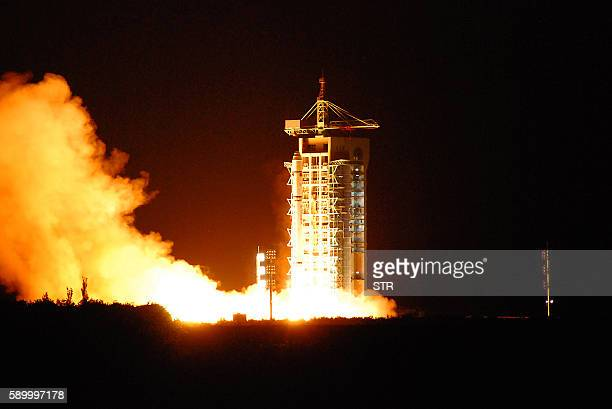 China's quantum satellite nicknamed Micius after a 5th century BC Chinese scientist blasts off from the Jiuquan satellite launch centre in China's...
