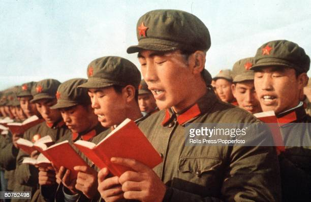 1969 China's Red Army soldiers read from Mao Tsetung's 'Little Red Book'
