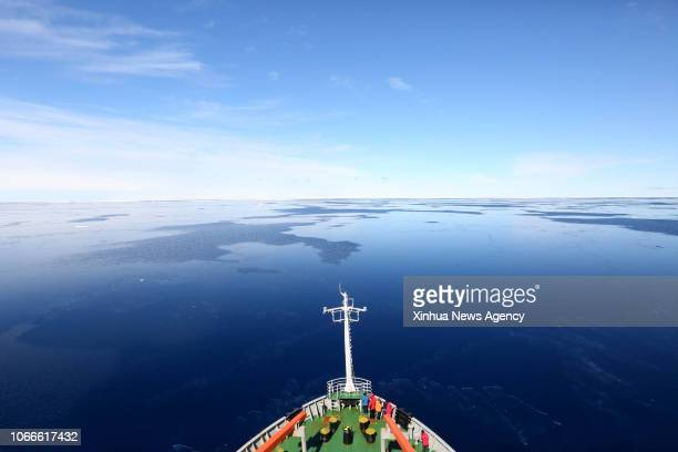 XUELONG NOVEMBER 29 2018 China's research icebreaker Xuelong also known as the Snow Dragon travels in a floating ice area in Southern Ocean on Nov 29...