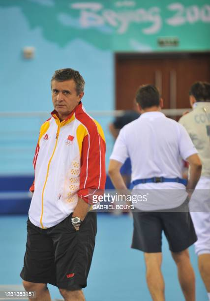 China's sabre fencing head coach Christian Bauer of France is seen inside the Fencing Hall of the National Convention Center ahead of the Beijing...
