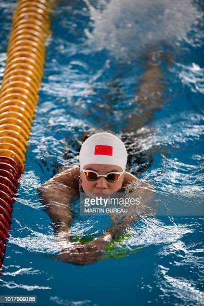 China's Shi Jinglin attends a training session at the Aquatics center during the 2018 Asian Games in Jakarta on August 17 2018