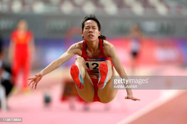 China's Shuiqing Chen competes during the Women's long jump event on the second day of the 23rd Asian Athletics Championships at Khalifa...