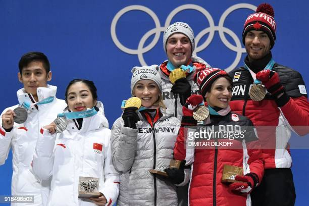 China's silver medallists Han Cong and Sui Wenjing Germany's gold medallists Aljona Savchenko and Bruno Massot and Canada's bronze medallists Meagan...