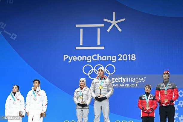 China's silver medallists Sui Wenjing and Han Cong Germany's gold medallists Aljona Savchenko and Bruno Massot and Canada's bronze medallists Meagan...