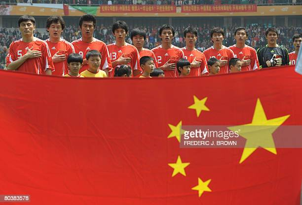 China's starting eleven lineup before their match against Australia during the 2010 World Cup qualifier match on March 26, 2008 in Kunming, in...