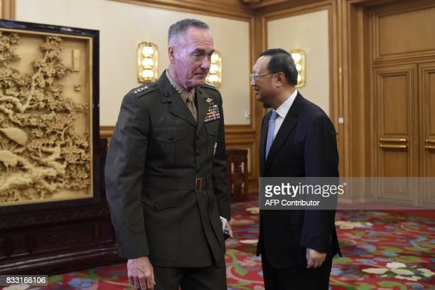 China's State Councillor Yang Jiechi meets with General Joseph Dunford chairman of the US Joint Chiefs of Staff at the Zhongnanhai Leadership...
