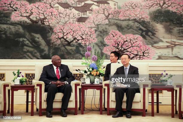 China's State Councilor Yang Jiechi meets with Cuba's First Vice President Salvador Valdes Mesa at The Great Hall Of The People on September 7, 2018...