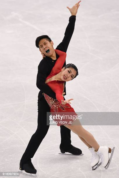 TOPSHOT China's Sui Wenjing and China's Han Cong compete in the pair skating free skating of the figure skating event during the Pyeongchang 2018...