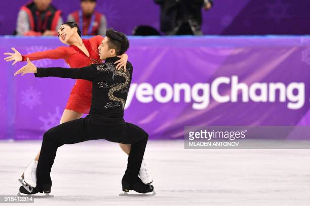China's Sui Wenjing and China's Han Cong compete in the pair skating free skating of the figure skating event during the Pyeongchang 2018 Winter...