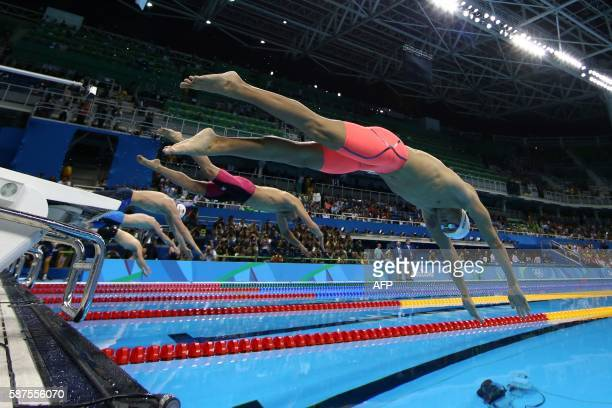 TOPSHOT China's Sun Yang competes to win the Men's 200m Freestyle Final during the swimming event at the Rio 2016 Olympic Games at the Olympic...