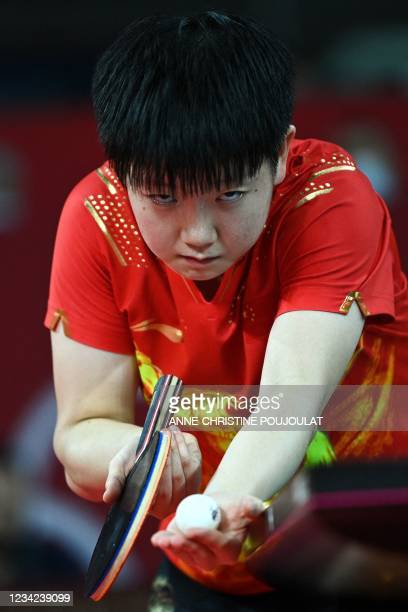 China's Sun Yingsha serves to Taiwan's Chen Szu-yu during her women's singles round of 16 table tennis match at the Tokyo Metropolitan Gymnasium...