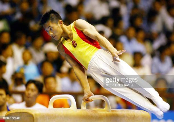 China's Teng Haibin performs on the pommel horse during the men's apparatus finals in Busan for the 14th Asian Games 04 October 2002 Teng finished in...