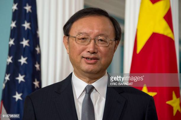 China's top diplomat Yang Jiechi arrives for a photo opportunity with US Secretary of State Rex Tillerson at the State department in WashingtonDC on...