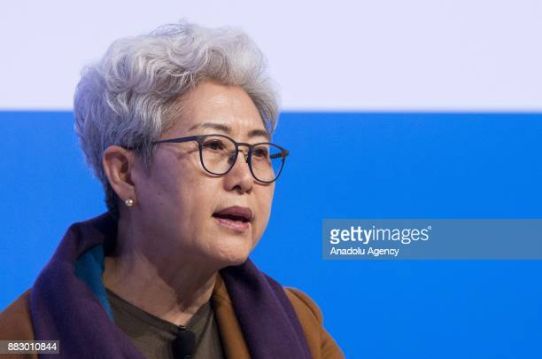 China's Vice Minister of Foreign Affairs Fu Ying speaks during the Forum MED Mediterranean Dialogues summit in Rome Italy on November 30 2017
