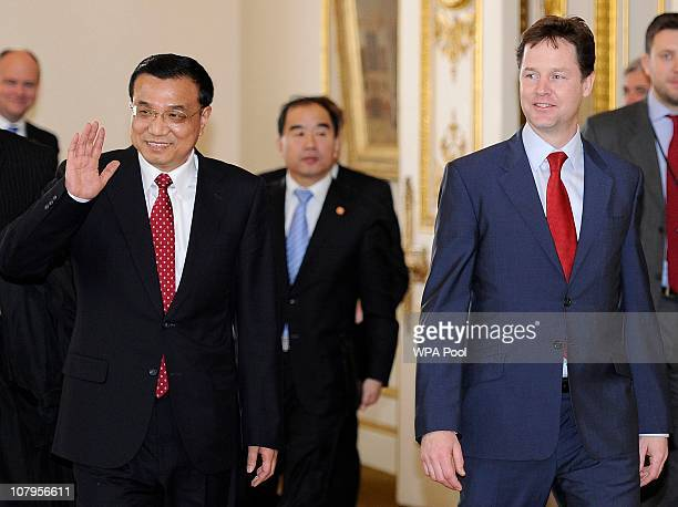 China's Vice Premier Li Keqiang walks with Britain's Deputy Prime Minister Nick Clegg during a visit to Lancaster House on January 10 2011 in London...