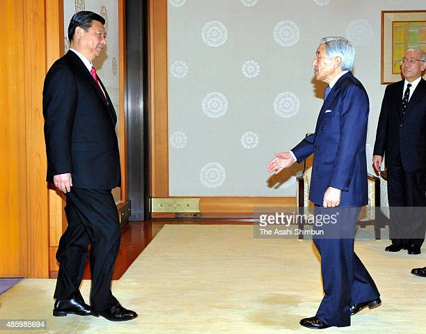 China's Vice President Xi Jinping and Emperor Akihito greet prior to their meeting at the Imperial Palace on December 15 2009 in Tokyo Japan