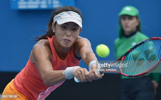 China's Wang Qiang plays a backhand return during her women's singles match against Germany's AnnaLena Friedsam on day three of the 2016 Australian...