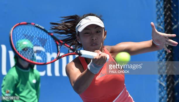 China's Wang Qiang plays a forehand return during her women's singles match against Germany's AnnaLena Friedsam on day three of the 2016 Australian...