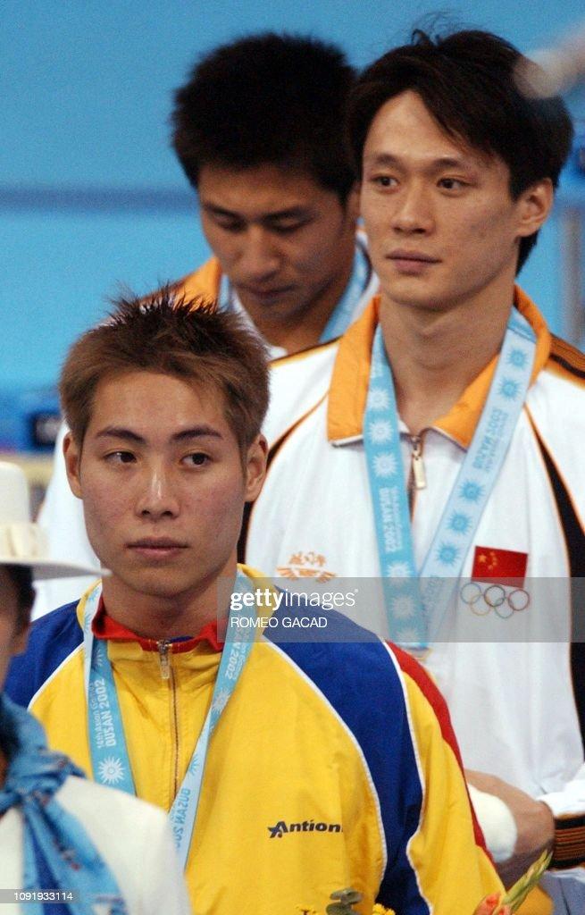 ASIAD-DIVING-MEN-3M-FINAL-CHN-MAS-WANG-YEOH-WANG-MEDALS : News Photo