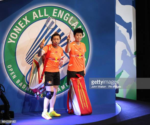 China's Wang Xiaoli and teammate Yu Yang walk out for the start of the women's doubles final during day Six of the 2013 Yonex All England Badminton...