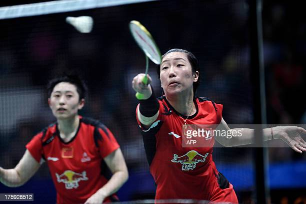 China's Wang Xiaoli and Yu Yang return to Denmark's Christinna Pedersen and Kamilla Rytter Juhl during their women's doubles semifinal at World...