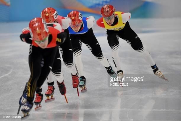 China's Wu Dajing , Pyeongchang 2018 Winter Olympics short track speed skating 500m gold medalist, competes during a short track speed skating test...