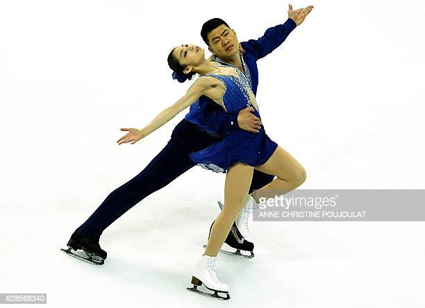 China's Xiaoyu Yu and Hao Zhang compete in the senior pair short program at the ISU Grand Prix of Figure Skating Final on December 8 2016 in...