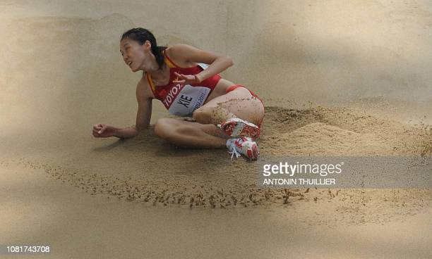 China's Xie Limei competes in the women's triple jump qualification round at the International Association of Athletics Federations World...