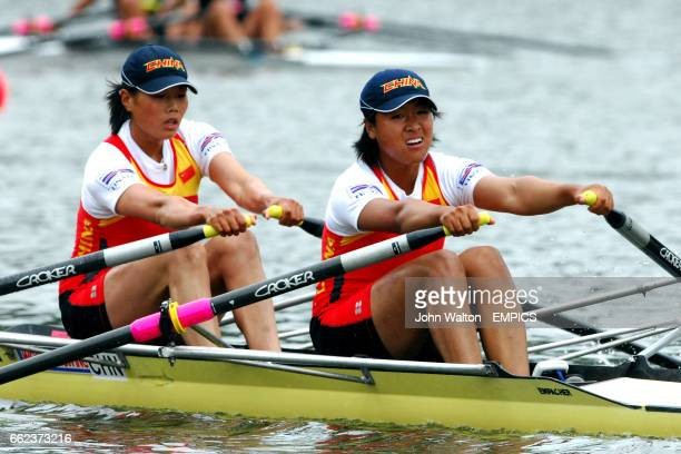 China's Yangyang Zhang and Rui Xu in the women's double sculls final A