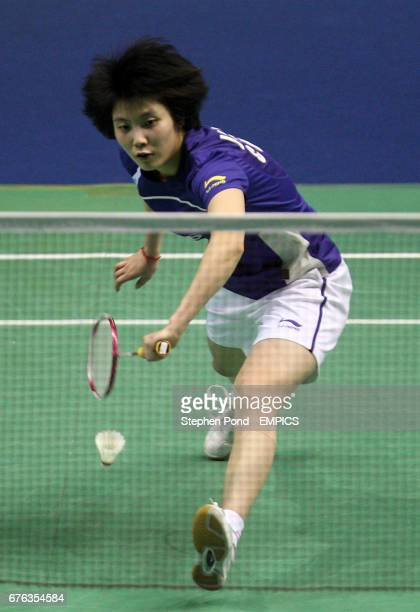 China's Yanjiao Jiang in action against Malaysia's Mew Choo Wong on day two of the Yonex All England Open Championships 2010 at the National Indoor...