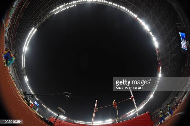 China's Yao Jie competes in the final of the men's pole vault athletics event during the 2018 Asian Games in Jakarta on August 29, 2018.