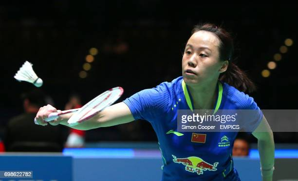 China's Zaho Yunlei in action during her mixed doubles quarter final match
