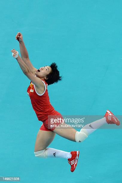 China's Zhang Xian attempts to set during the women's volleyball match between China and Turkey in the 2012 London Olympic Games in London on July 30...