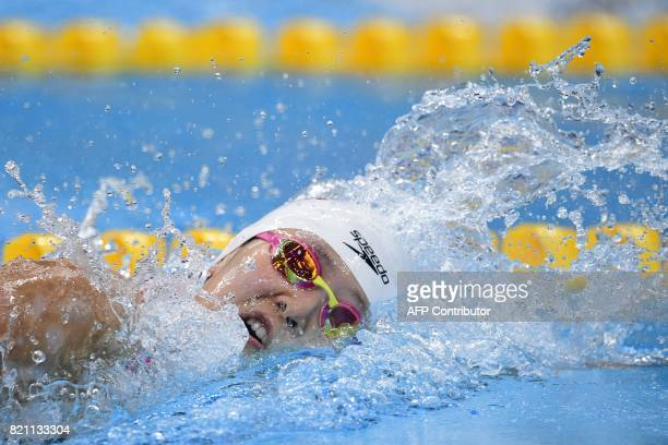 China's Zhang Yuhan competes in a women's 400m freestyle heat during the swimming competition at the 2017 FINA World Championships in Budapest on...