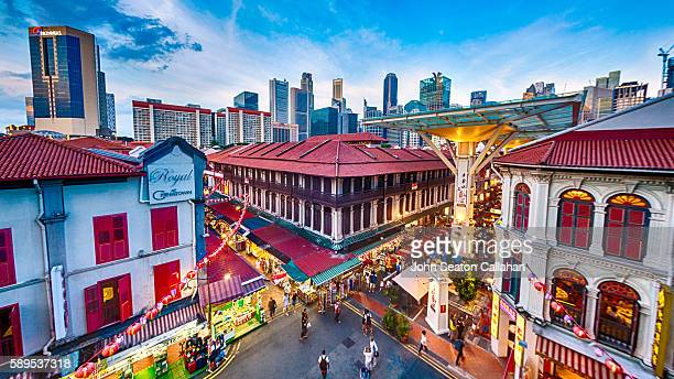 chinatown at dusk - singapore stock photos and pictures