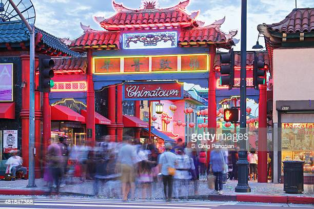 chinatown gate - los angeles - chinatown stock photos and pictures