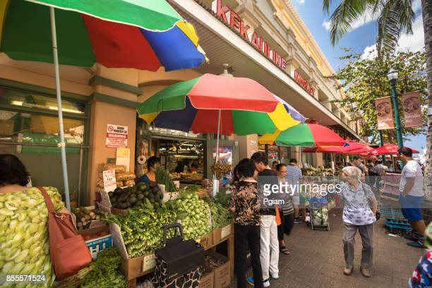 chinatown market area in honolulu hawaii usa - honolulu stock pictures, royalty-free photos & images