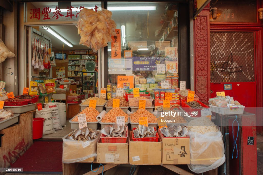 Nyc Chinatown Market Displays Dry Food For Sale On Mott Street High Res Stock Photo Getty Images