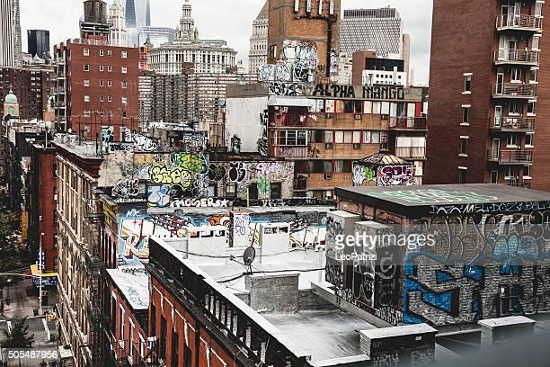 中華街ニューヨークにグラフィティの建物のトップ