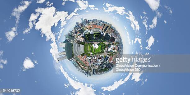 chinatown, singapore - little planet format stock photos and pictures