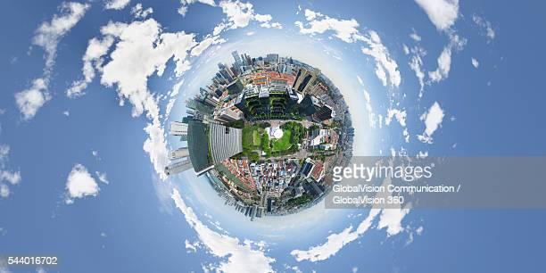chinatown, singapore - formato de pequeno planeta - fotografias e filmes do acervo